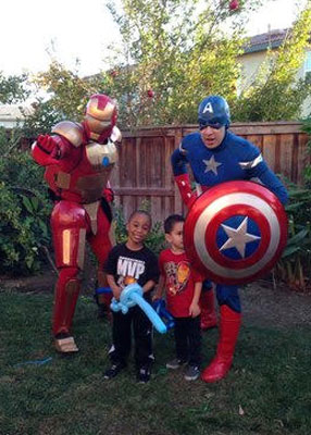 Iron Man and Captain America With Boys