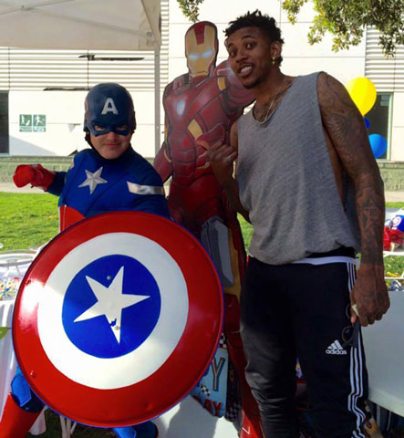 Nick Young of the LA Lakers With Captain America