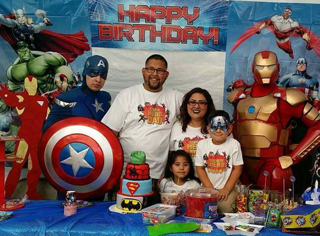 Family with Captain America and Iron Man