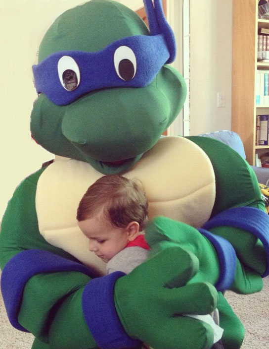 Ninja Turtle Being Hugged