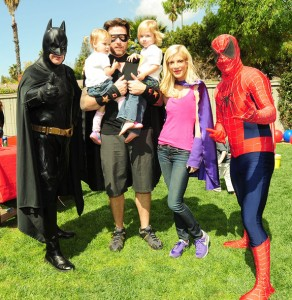 Batman and Spiderman with Family